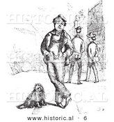 Historical Vector Illustration of a Unhappy Man Beside His Dog - Black and White Version by Al