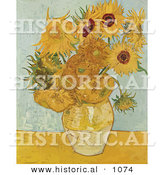 Historical Vector Illustration of a Vase with 12 Sunflowers - Vincent Van Gogh Still Life Painting by Al