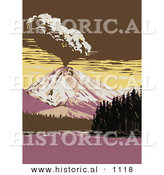 Historical Vector Illustration of a Volcano Exploding Beside Manzanita Lake in Lassen Volcanic National Park, California by Al