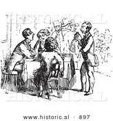 Historical Vector Illustration of a Waiter Assisting Tired Travelers - Black and White Version by Al