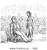 Historical Vector Illustration of a Waiter Standing and Staring at a Tired Customer Leaned Back in His Chair - Black and White Version by Al
