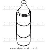 Historical Vector Illustration of a Water Bottle - Black and White Outlined Version by Al