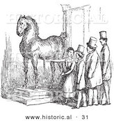 Historical Vector Illustration of a Woman Presenting Wallenstein's Horse Statue - Black and White Version by Al