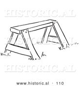 Historical Vector Illustration of a Wooden Saw Horse - Black and White Outlined Version by Al
