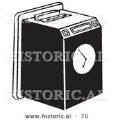 Historical Vector Illustration of a Work Punch Clock in Card Machine - Black and White Version by Al