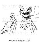 Historical Vector Illustration of a Worker Woman Sitting on a Saw Horse While Rolling a Cigarette - Black and White Version by Al