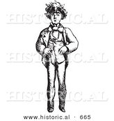 Historical Vector Illustration of a Worried Man Standing and Staring - Black and White Version Worried Man Standing and Staring by Al