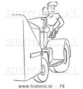 Historical Vector Illustration of a Young, Attractive Female Worker Operating a Machine with a Smile - Black and White Version by Al