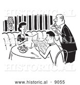 Historical Vector Illustration of a Young Couple Looking over a Menu While a Waiter Takes Their Order at a Restaurant - Black and White by Al