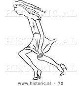 Historical Vector Illustration of a Young Lady Trying to Keep Her Dress down While Walking Through Windy Weather - Black and White Version by Al