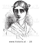 Historical Vector Illustration of a Young Lady with a Pin in Her Hair - Black and White Version by Al