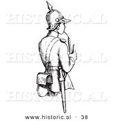Historical Vector Illustration of a Young Soldier Smoking a Pipe - Black and White Version by Al