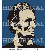 Historical Vector Illustration of Abraham Lincoln Profile - Black, Beige, and Blue Version by Al