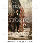Historical Vector Illustration of Abraham Lincoln Raising an American Flag by Al