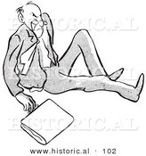 Historical Vector Illustration of an Angry Cartoon Man After Falling on the Ground with a Briefcase- Black and White Outlined Version by Al