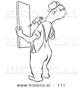 Historical Vector Illustration of an Angry Cartoon Man Repairing a Wood Fence - Black and White Outlined Version by Al