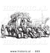 Historical Vector Illustration of an Angry Crowd of People Attacking an Omnibus - Black and White Version by Al