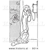 Historical Vector Illustration of an Angry Man with a Flat Tire Yelling into a Phone for Help - Black and White Outlined Version by Al