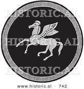 Historical Vector Illustration of an Emblazoned Greek Pegasus Shield - Black and White Version by Al