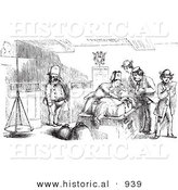 Historical Vector Illustration of an Inspector Checking Passenger's Luggage - Black and White Version by Al