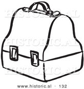 Historical Vector Illustration of an Old Fashioned Lunch Box - Black and White Outlined Version by Al