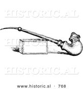 Historical Vector Illustration of an Old Pipe Leaning Against Box - Black and White Version by Al