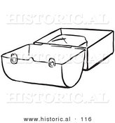 Historical Vector Illustration of an Opened Lunch Box - Black and White Outlined Version by Al