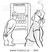 Historical Vector Illustration of an Undecided Cartoon Man Standing in Front of a Cigarette Machine While Watching a Happy Woman Walk by Smoking a Pipe - Black and White Outlined Version by Al