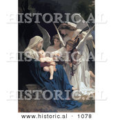 Historical Vector Illustration of Angels Playing Music for a Newborn Baby by Al
