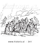 Historical Vector Illustration of Beggars - Black and White Version by Al