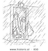 Historical Vector Illustration of Cartoon Male Workers Standing Inside an Opened Door Looking out into a Rain Storm - Black and White Outlined Version by Al