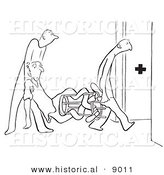 Historical Vector Illustration of Cartoon Medics Carrying a Twisted Man to an Emergency Medical Room - Black and White Outlined Version by Al