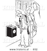 Historical Vector Illustration of Cartoon Workers Clocking into Work - Black and White Outlined Version by Al