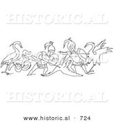 Historical Vector Illustration of Cranes and Pygmies Battling - Black and White Version by Al