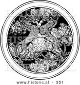 Historical Vector Illustration of Dragons Entwined over a Circle Medallion of Smoke - Black and White Version by Al