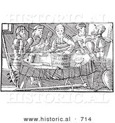Historical Vector Illustration of Feasting Fantasy Giants at a Dining Room Table - Black and White Version by Al