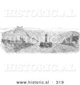Historical Vector Illustration of Fog on the Rhine River - Black and White Version by Al