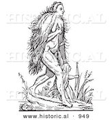 Historical Vector Illustration of Hairy Woman and Child Fantasy Creatures - Black and White Version by Al