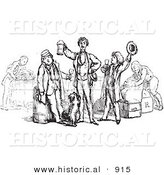Historical Vector Illustration of Happy Men Toasting and Celebrating - Black and White Version by Al