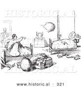 Historical Vector Illustration of Hotel Guests Waking up - Black and White Version by Al