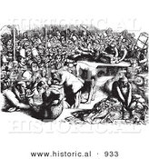 Historical Vector Illustration of Lots of Travelers at at an Inspection Point - Black and White Version by Al