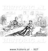 Historical Vector Illustration of Men Eating and Reading at a Restaurant - Black and White Version by Al