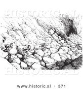 Historical Vector Illustration of Men Running over Boulders down a Cliff to Hitch a Ride on a Passing Carriage - Black and White Version by Al
