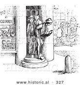 Historical Vector Illustration of Men Trying to Avoid Someone - Black and White Version by Al