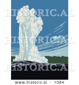 Historical Vector Illustration of Old Faithful in Action, Yellowstone National Park, Wyoming by Al