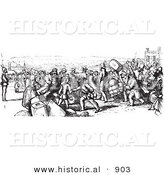 Historical Vector Illustration of People Boarding a Boat - Black and White Version by Al