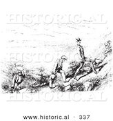 Historical Vector Illustration of People Hiking - Black and White Version by Al
