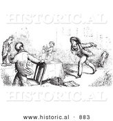 Historical Vector Illustration of People Panicking at a Restaurant - Black and White Version by Al