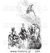 Historical Vector Illustration of People Riding Mules up a Steep Cliff - Black and White Version by Al