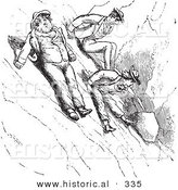 Historical Vector Illustration of People Scooting down a Mountain - Black and White Version by Al